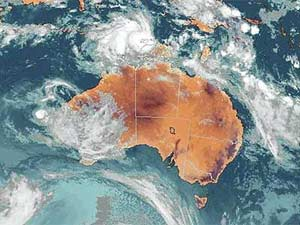Satellite image of Cyclone Ingrid near Australia.